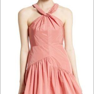 Rebecca Taylor Knot Neck Taffeta Dress coral color